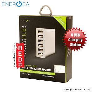 Picture of Energea POWERHUB 6 6 USB Charging Station - White Red Design- Red Design Cases, Red Design Covers, iPad Cases and a wide selection of Red Design Accessories in Malaysia, Sabah, Sarawak and Singapore