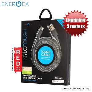 Picture of Energea NYLOTOUGH MFI Rapid Charge and Sync Lightning Braid Cable 3M - Black Red Design- Red Design Cases, Red Design Covers, iPad Cases and a wide selection of Red Design Accessories in Malaysia, Sabah, Sarawak and Singapore