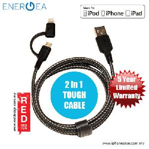 Picture of Energea NYLOTOUGH MFI 2 in 1 MicroUSB Lightning Rapid Charge and Sync Lightning Braid Cable 1.5M - Black Red Design- Red Design Cases, Red Design Covers, iPad Cases and a wide selection of Red Design Accessories in Malaysia, Sabah, Sarawak and Singapore