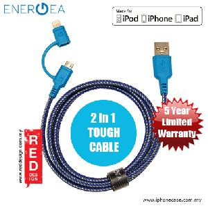 Picture of Energea NYLOTOUGH MFI 2 in 1 MicroUSB Lightning Rapid Charge and Sync Lightning Braid Cable 1.5M - Blue Red Design- Red Design Cases, Red Design Covers, iPad Cases and a wide selection of Red Design Accessories in Malaysia, Sabah, Sarawak and Singapore