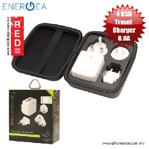 Picture of Energea Travel World 6.8A 4 USB Wall Charger with UK US AU Adaptor and Travel Organiser Red Design- Red Design Cases, Red Design Covers, iPad Cases and a wide selection of Red Design Accessories in Malaysia, Sabah, Sarawak and Singapore