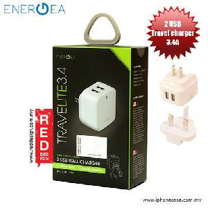 Picture of Energea Travelite 3.4A 2 USB Wall Charger with UK US Adaptor - White