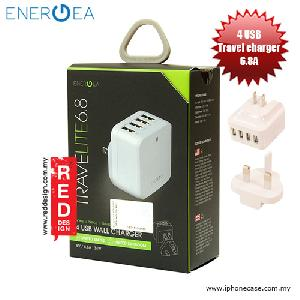 Picture of Energea Travelite 6.8A 4 USB Wall Charger with UK US Adaptor - White Red Design- Red Design Cases, Red Design Covers, iPad Cases and a wide selection of Red Design Accessories in Malaysia, Sabah, Sarawak and Singapore