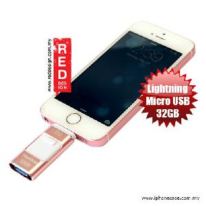 Picture of OEM OTG Flash Drive for Apple Lightning Micro USB Device 32GB - Rose Gold Red Design- Red Design Cases, Red Design Covers, iPad Cases and a wide selection of Red Design Accessories in Malaysia, Sabah, Sarawak and Singapore