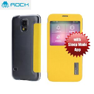 Picture of Rock Elegant Series Window View Sleep Mode APP Case for Galaxy S5 - Yellow Samsung Galaxy S5- Samsung Galaxy S5 Cases, Samsung Galaxy S5 Covers, iPad Cases and a wide selection of Samsung Galaxy S5 Accessories in Malaysia, Sabah, Sarawak and Singapore