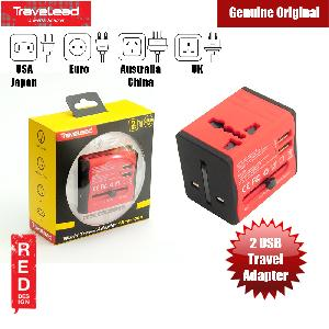 Picture of TRAVELEAD World Travel Adapter with 2 USB (Red) Red Design- Red Design Cases, Red Design Covers, iPad Cases and a wide selection of Red Design Accessories in Malaysia, Sabah, Sarawak and Singapore