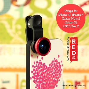 Picture of LIEQI Universal 3 in 1 Solution Len Fish Eye Wide Angle Macro Lens for iPhone Samsung Phone - Red Apple iPhone 4- Apple iPhone 4 Cases, Apple iPhone 4 Covers, iPad Cases and a wide selection of Apple iPhone 4 Accessories in Malaysia, Sabah, Sarawak and Singapore