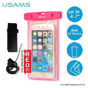 Picture of USAMS Mobile Smartphone IPX8 Waterproof Bag for Smartphone up to 4.7 inches iPhone SE iPhone 6 - Pink Red Design- Red Design Cases, Red Design Covers, iPad Cases and a wide selection of Red Design Accessories in Malaysia, Sabah, Sarawak and Singapore