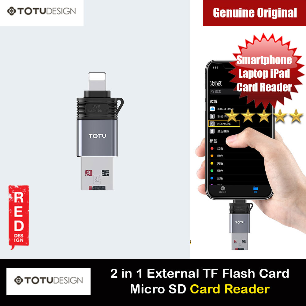 Picture of Totu 2 in 1 External TF Flash Card Micro SD Card Reader for iPhone 11 Pro Max (Lightning Connector) Red Design- Red Design Cases, Red Design Covers, iPad Cases and a wide selection of Red Design Accessories in Malaysia, Sabah, Sarawak and Singapore