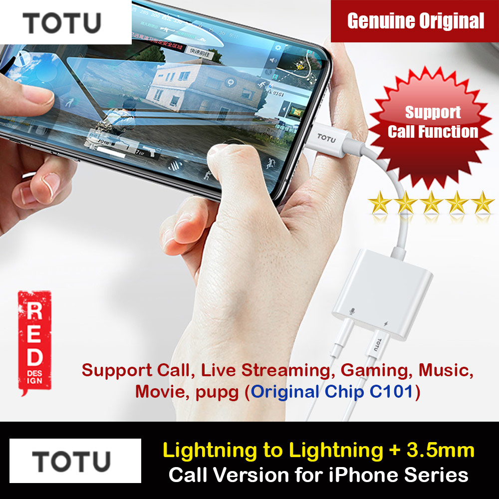 Picture of Totu Audio Converter Lighntning MALE to 3.5mm and Dual Ligntning FEMALE Audio and Charging Adapter Gaming PUBG FREE FIRE Listenning Mic Talk Call while charging for iPhone 8 iPhone XS Max iPhone 11 Pro Max iPhone 12 Pro Max Original C101 CHIP Red Design- Red Design Cases, Red Design Covers, iPad Cases and a wide selection of Red Design Accessories in Malaysia, Sabah, Sarawak and Singapore