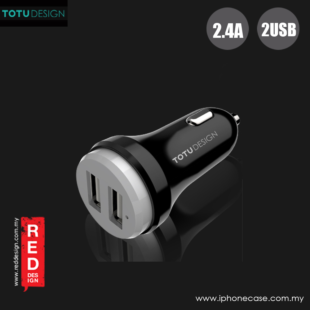 Picture of Totu Bullet Series 2.4A Fast Charge Dual USB Car Charger (Black Grey)