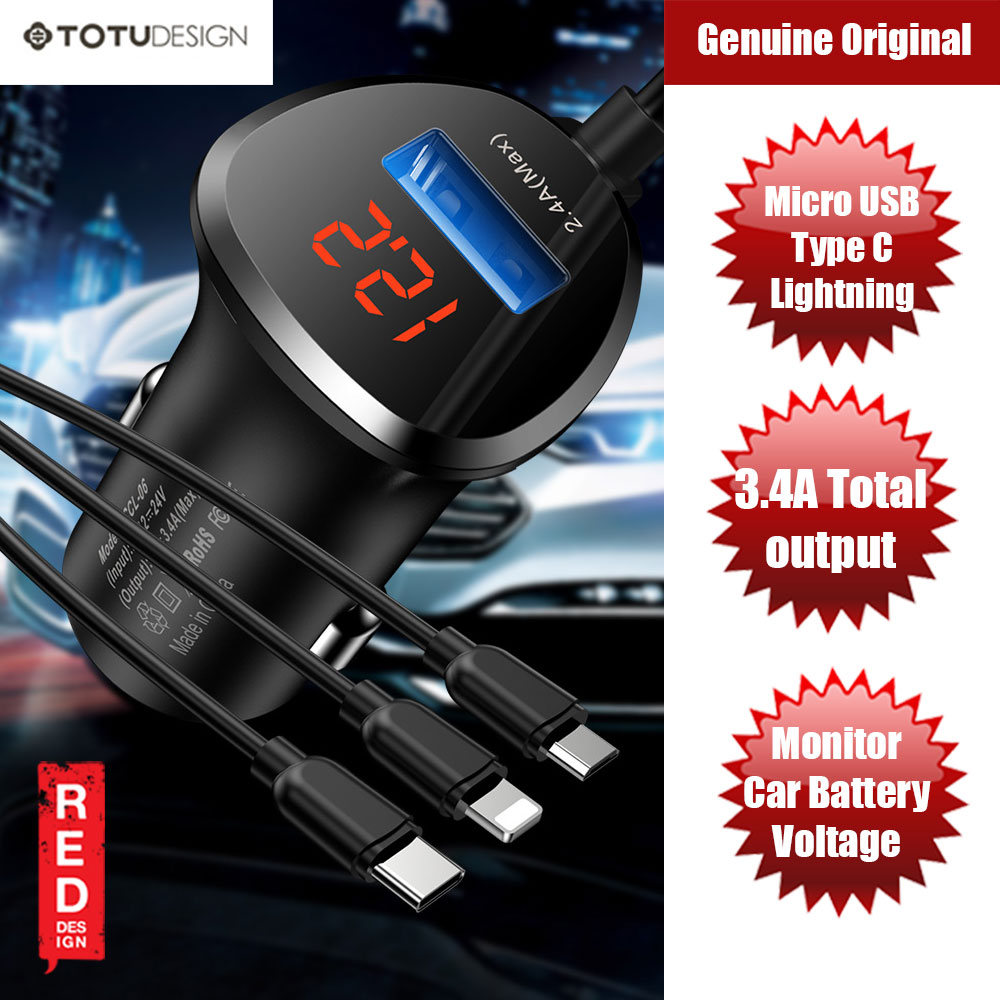 Picture of Totu Lingchi Series Lightning Type C Micro USB Car Charger with Car Battery Voltage Monitor (Black) Red Design- Red Design Cases, Red Design Covers, iPad Cases and a wide selection of Red Design Accessories in Malaysia, Sabah, Sarawak and Singapore