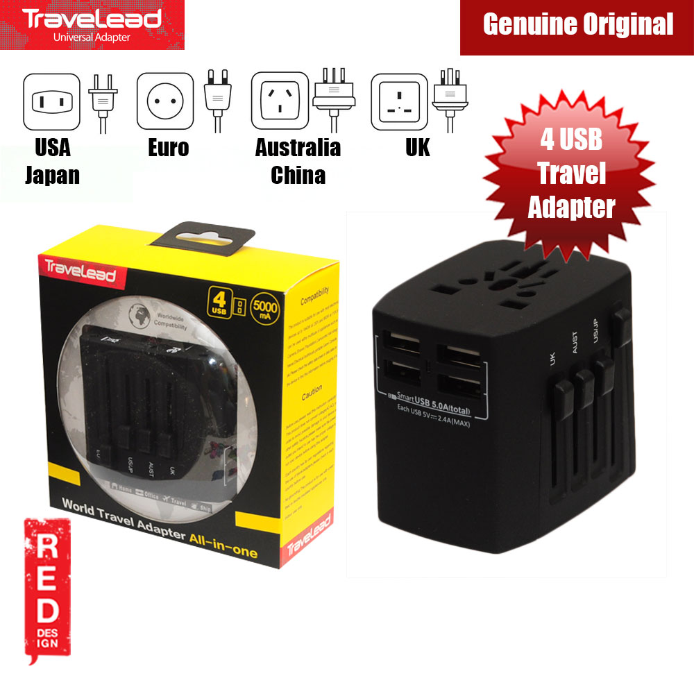 Picture of TRAVELEAD World Travel Adapter with 4 USB (Black) Red Design- Red Design Cases, Red Design Covers, iPad Cases and a wide selection of Red Design Accessories in Malaysia, Sabah, Sarawak and Singapore