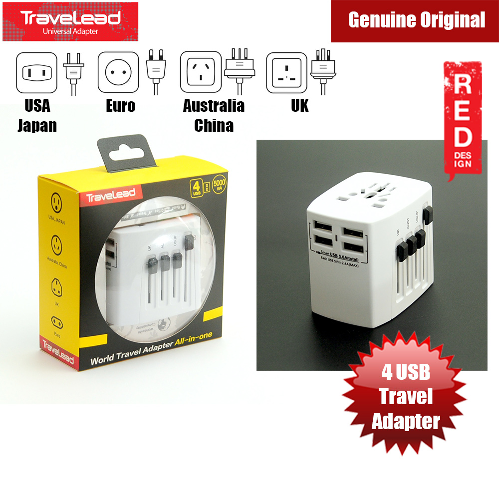 Picture of TRAVELEAD World Travel Adapter with 4 USB (White) Red Design- Red Design Cases, Red Design Covers, iPad Cases and a wide selection of Red Design Accessories in Malaysia, Sabah, Sarawak and Singapore