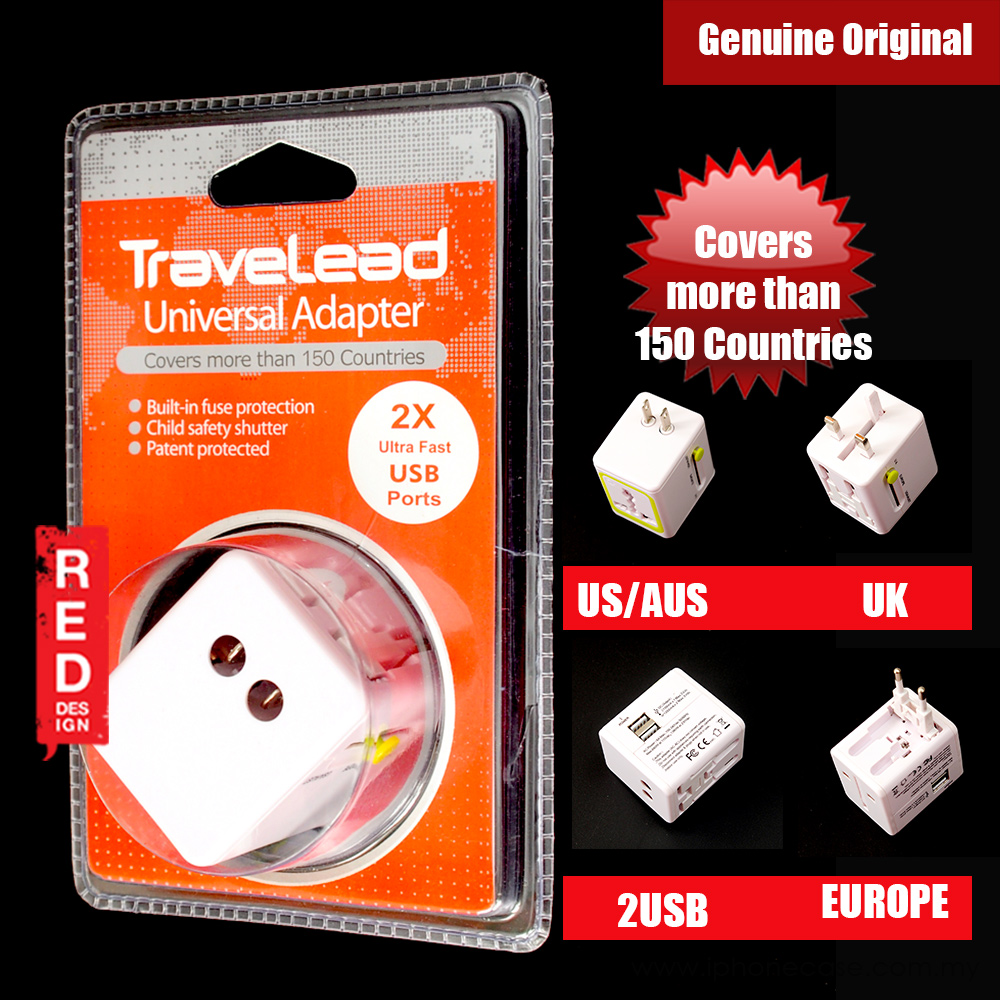Picture of TRAVELEAD World Travel Adapter with 2 USB Ports (White) Red Design- Red Design Cases, Red Design Covers, iPad Cases and a wide selection of Red Design Accessories in Malaysia, Sabah, Sarawak and Singapore