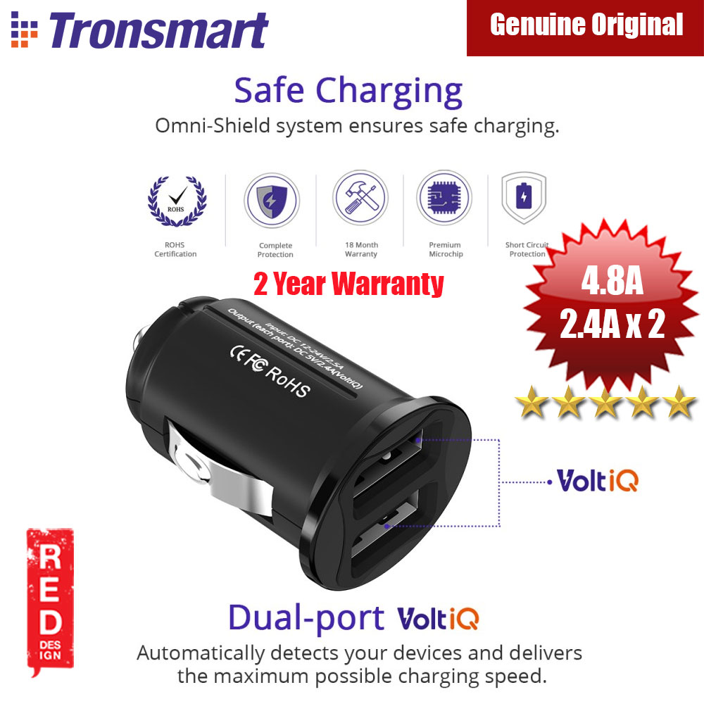Picture of Tronsmart C24 Dual USB Port Mini Car Charger (Black) Red Design- Red Design Cases, Red Design Covers, iPad Cases and a wide selection of Red Design Accessories in Malaysia, Sabah, Sarawak and Singapore