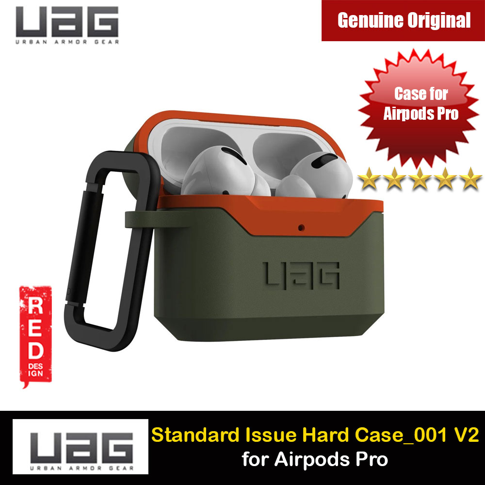 Picture of UAG Standard Issue Hard V2 Case with Detachable Carabiner for Airpods Pro (Olive Orange) Apple Airpods Pro- Apple Airpods Pro Cases, Apple Airpods Pro Covers, iPad Cases and a wide selection of Apple Airpods Pro Accessories in Malaysia, Sabah, Sarawak and Singapore