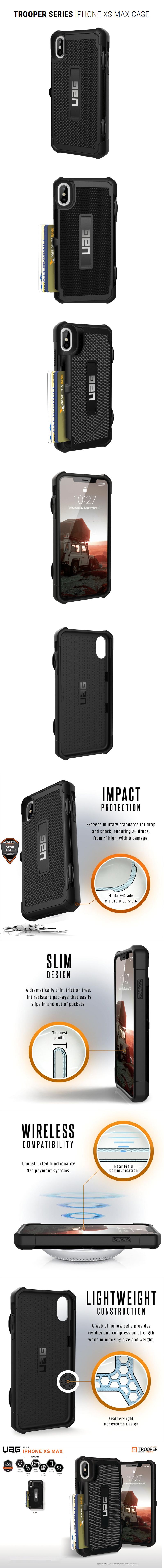 online store 903f6 6f3e2 UAG Trooper Series Protection Card Case for Apple iPhone XS Max (Black)