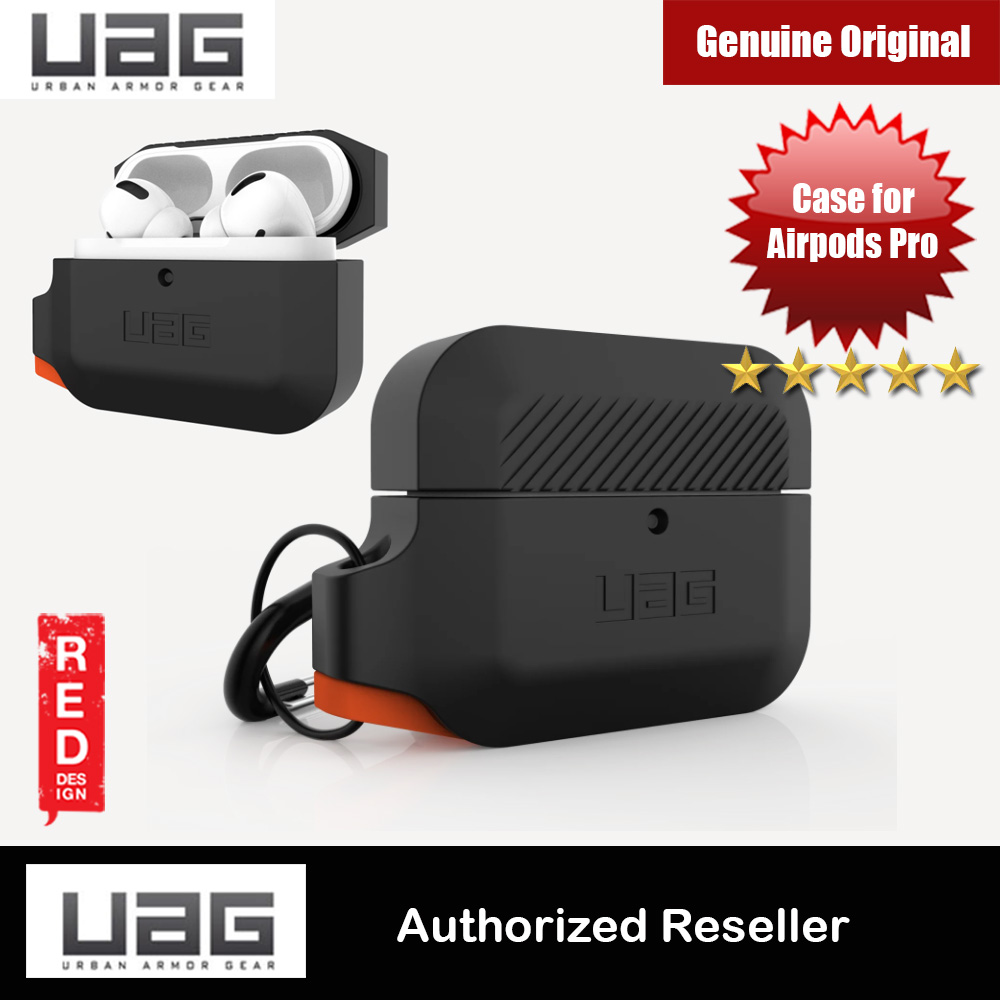 Picture of UAG Drop Protection Silicone Case with Carabiner for Airpods Pro (Black Orange) Apple Airpods Pro- Apple Airpods Pro Cases, Apple Airpods Pro Covers, iPad Cases and a wide selection of Apple Airpods Pro Accessories in Malaysia, Sabah, Sarawak and Singapore