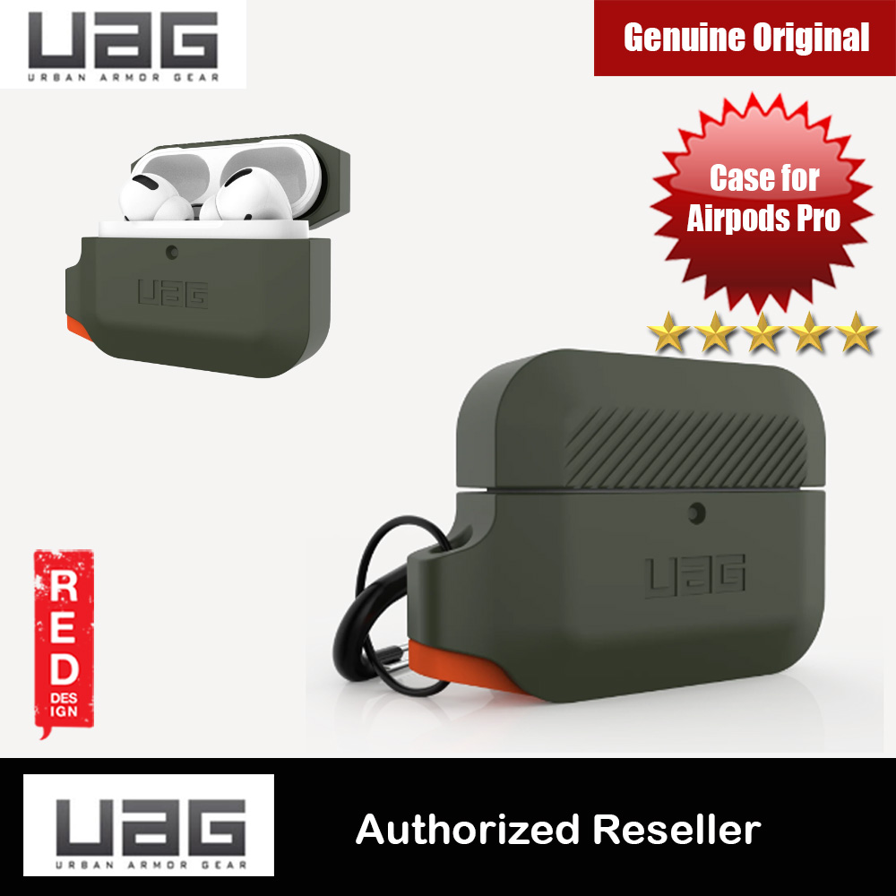Picture of UAG Drop Protection Silicone Case with Carabiner for Airpods Pro (Olive Drab Orange) Apple Airpods Pro- Apple Airpods Pro Cases, Apple Airpods Pro Covers, iPad Cases and a wide selection of Apple Airpods Pro Accessories in Malaysia, Sabah, Sarawak and Singapore