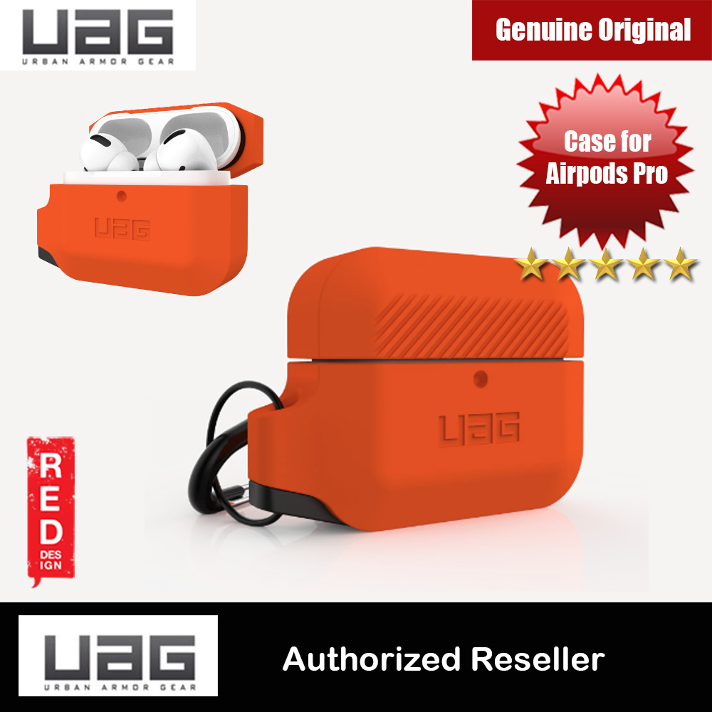 Picture of UAG Drop Protection Silicone Case with Carabiner for Airpods Pro (Orange Grey) Apple Airpods Pro- Apple Airpods Pro Cases, Apple Airpods Pro Covers, iPad Cases and a wide selection of Apple Airpods Pro Accessories in Malaysia, Sabah, Sarawak and Singapore