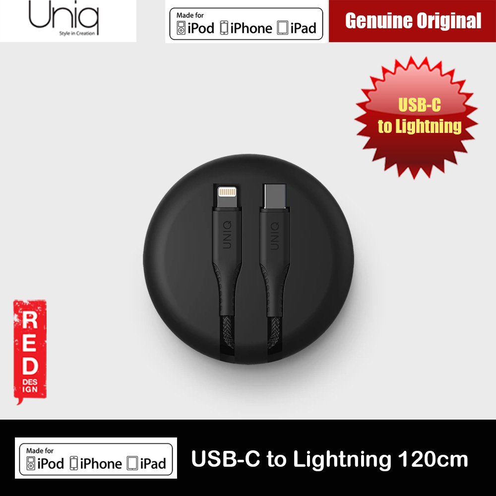 Picture of Uniq Halo Tough Reinforced Charging Cable with Smart Cable Organizer MFI Certified USB C to Lightning Cable 3A Fast Charge 18W Power Deliver Fast Charge Cable for iPhone 11 Pro iPhone 11 Pro Max (Black) Red Design- Red Design Cases, Red Design Covers, iPad Cases and a wide selection of Red Design Accessories in Malaysia, Sabah, Sarawak and Singapore