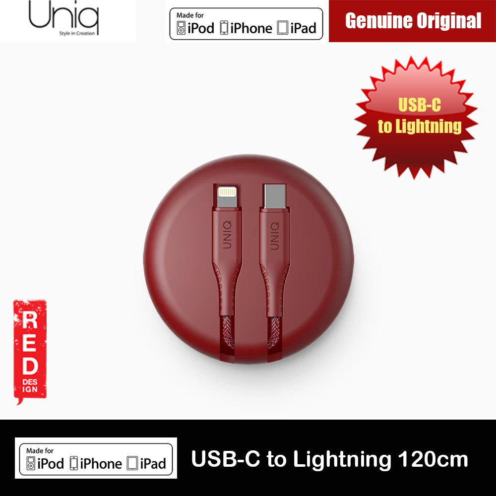Picture of Uniq Halo Tough Reinforced Charging Cable with Smart Cable Organizer MFI Certified USB C to Lightning Cable 3A Fast Charge 18W Power Deliver Fast Charge Cable for iPhone 11 Pro iPhone 11 Pro Max  (Maroon) Red Design- Red Design Cases, Red Design Covers, iPad Cases and a wide selection of Red Design Accessories in Malaysia, Sabah, Sarawak and Singapore
