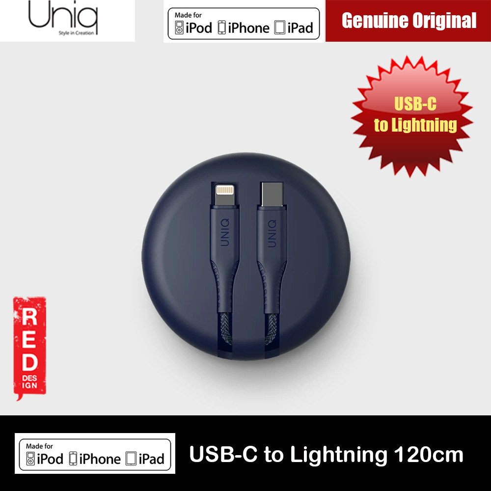 Picture of Uniq Halo Tough Reinforced Charging Cable with Smart Cable Organizer MFI Certified USB C to Lightning Cable 3A Fast Charge 18W Power Deliver Fast Charge Cable for iPhone 11 Pro iPhone 11 Pro Max  (Midnight Blue) Red Design- Red Design Cases, Red Design Covers, iPad Cases and a wide selection of Red Design Accessories in Malaysia, Sabah, Sarawak and Singapore