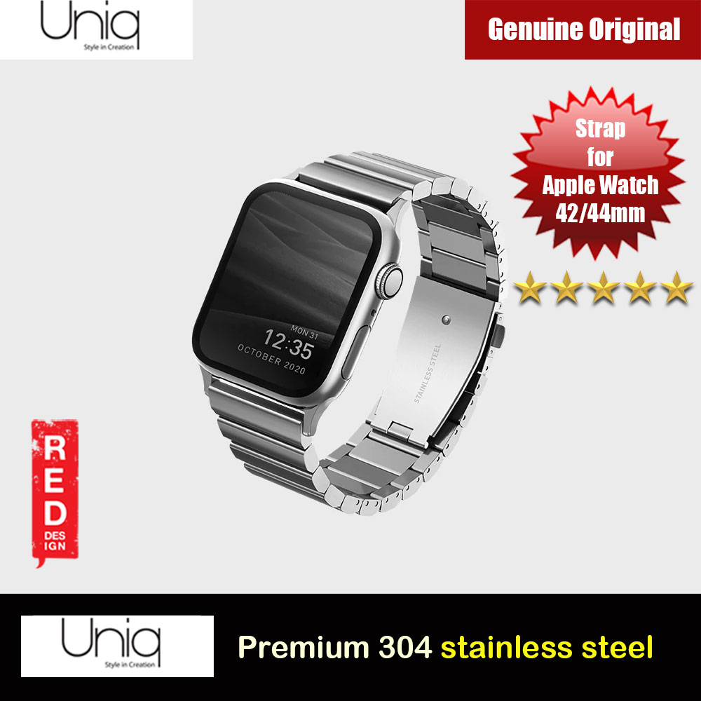 Picture of Uniq Strova Premium 304 Stainless Steel Apple Watch Strap Watch Band for Apple Watch 44mm Series 4 Series 5 Series 6 Series SE with Quick Release Push Button (Silver) Red Design- Red Design Cases, Red Design Covers, iPad Cases and a wide selection of Red Design Accessories in Malaysia, Sabah, Sarawak and Singapore