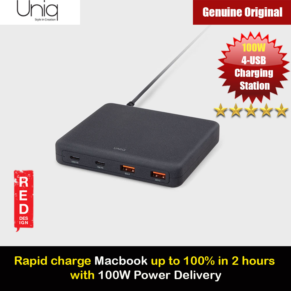 Picture of Uniq 100W Max Power Surge Mini 4 Port Rapid Fast Charging Station USB C Power Delivery for Macbook iPhone iPad Red Design- Red Design Cases, Red Design Covers, iPad Cases and a wide selection of Red Design Accessories in Malaysia, Sabah, Sarawak and Singapore