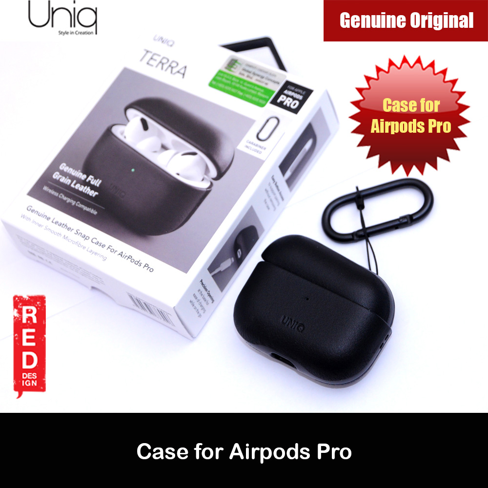 Picture of Uniq Terra Airpod Genuine Leather Snap Case with Carabiner for Airpods Pro  (Black) Apple Airpods Pro- Apple Airpods Pro Cases, Apple Airpods Pro Covers, iPad Cases and a wide selection of Apple Airpods Pro Accessories in Malaysia, Sabah, Sarawak and Singapore