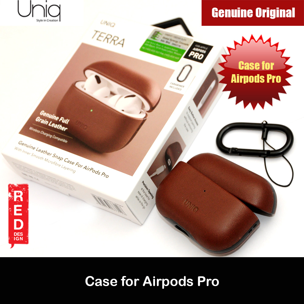 Picture of Uniq Terra Airpod Genuine Leather Snap Case with Carabiner for Airpods Pro  (Brown) Apple Airpods Pro- Apple Airpods Pro Cases, Apple Airpods Pro Covers, iPad Cases and a wide selection of Apple Airpods Pro Accessories in Malaysia, Sabah, Sarawak and Singapore