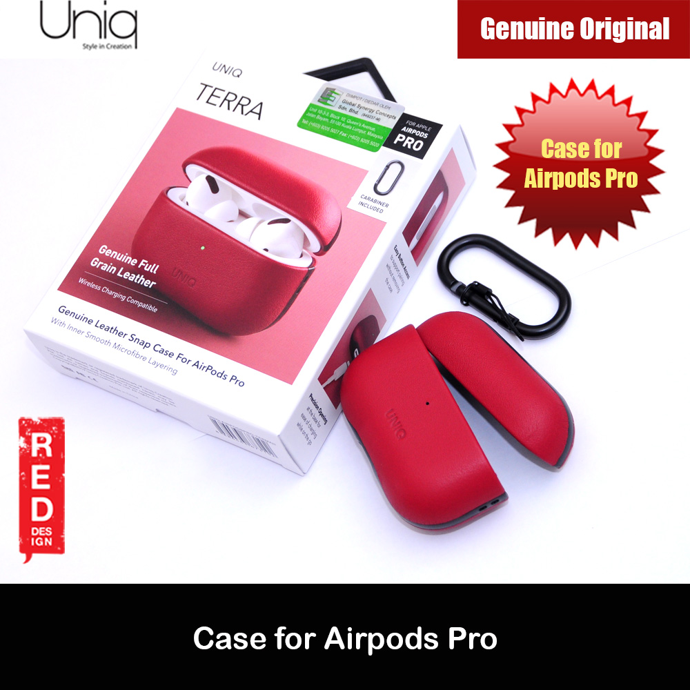 Picture of Uniq Terra Airpod Genuine Leather Snap Case with Carabiner for Airpods Pro  (Red) Apple Airpods Pro- Apple Airpods Pro Cases, Apple Airpods Pro Covers, iPad Cases and a wide selection of Apple Airpods Pro Accessories in Malaysia, Sabah, Sarawak and Singapore