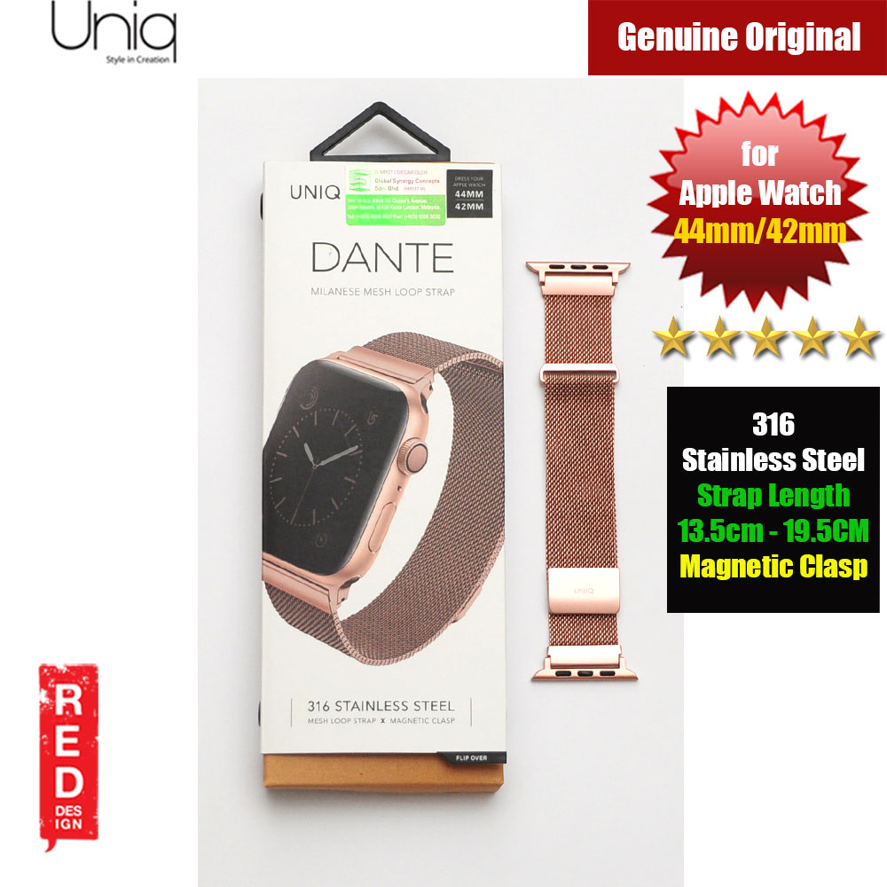 Picture of Uniq Dante Milanese Mesh Loop Strap Stainless Steel with Magnetic Clasp  Strap for Apple Watch 42mm 44mm (Rose Gold) Apple Watch 44mm- Apple Watch 44mm Cases, Apple Watch 44mm Covers, iPad Cases and a wide selection of Apple Watch 44mm Accessories in Malaysia, Sabah, Sarawak and Singapore