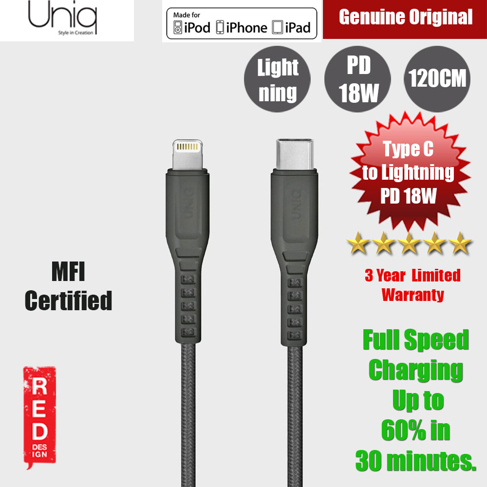 Picture of Uniq Flex PD Power Delivery 18W MFI Certified Type C to Lightning MFI Cable (Grey) Red Design- Red Design Cases, Red Design Covers, iPad Cases and a wide selection of Red Design Accessories in Malaysia, Sabah, Sarawak and Singapore