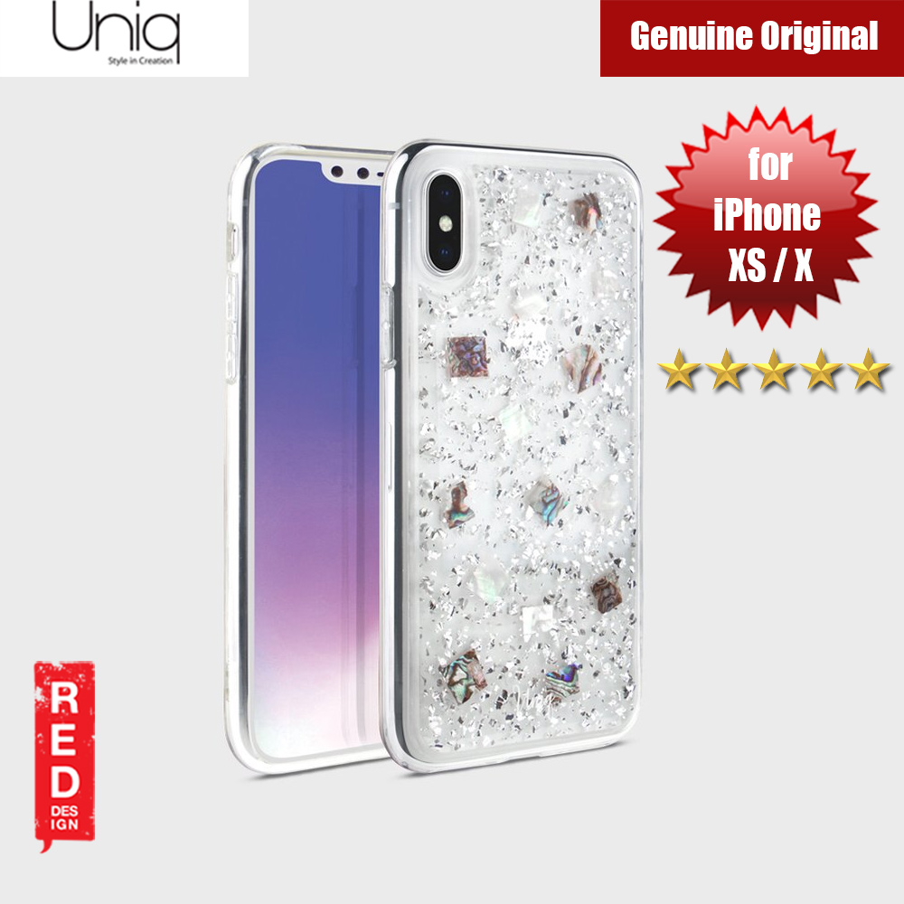 Picture of Uniq Lumence Clear Genuine Glitz Seashells Soft Case for Apple iPhone XS iPhone X (Silver) Apple iPhone X- Apple iPhone X Cases, Apple iPhone X Covers, iPad Cases and a wide selection of Apple iPhone X Accessories in Malaysia, Sabah, Sarawak and Singapore