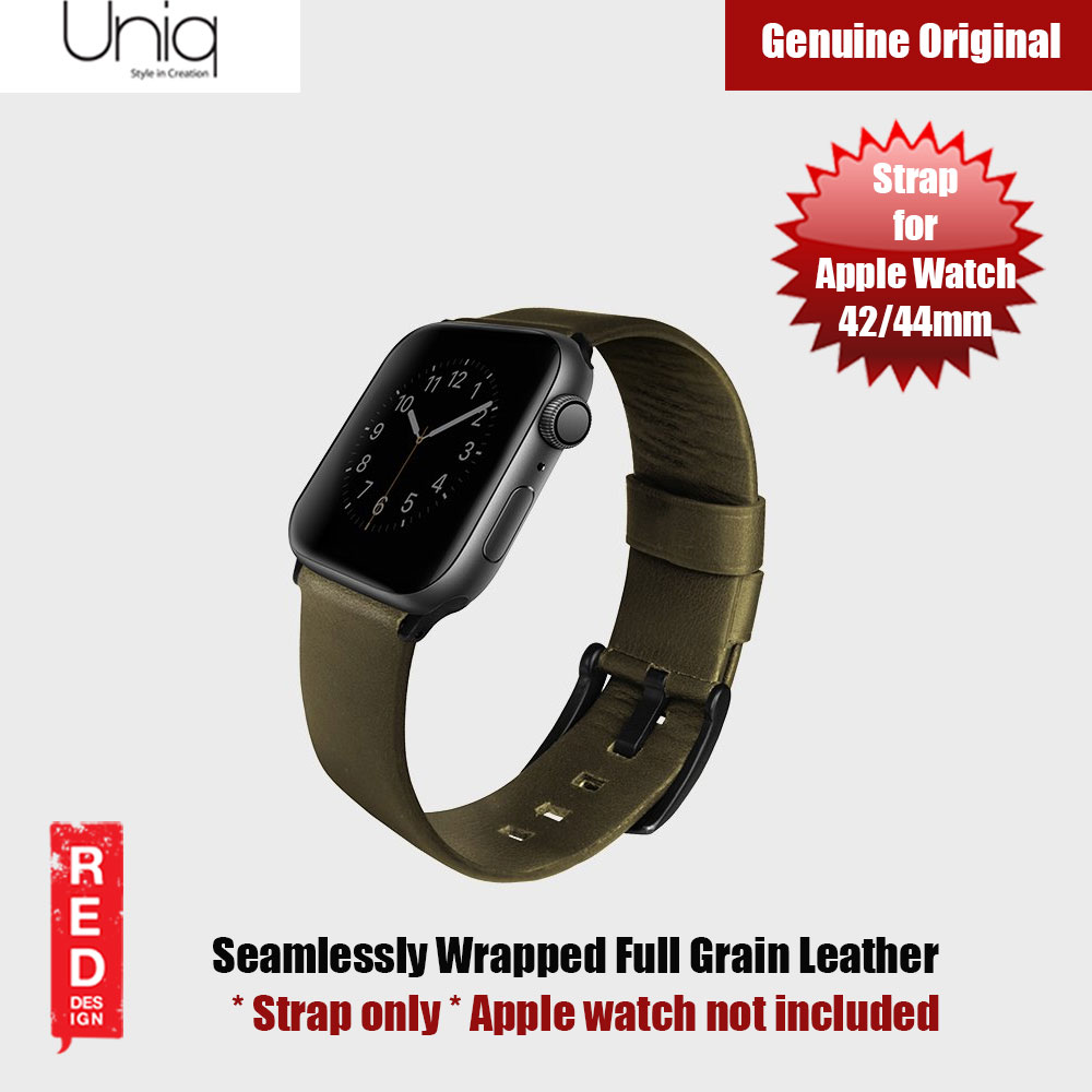Picture of Uniq Mondain Series Full Grain Leather Strap for Apple Watch 42mm 44mm (Olive) Apple Watch 42mm- Apple Watch 42mm Cases, Apple Watch 42mm Covers, iPad Cases and a wide selection of Apple Watch 42mm Accessories in Malaysia, Sabah, Sarawak and Singapore