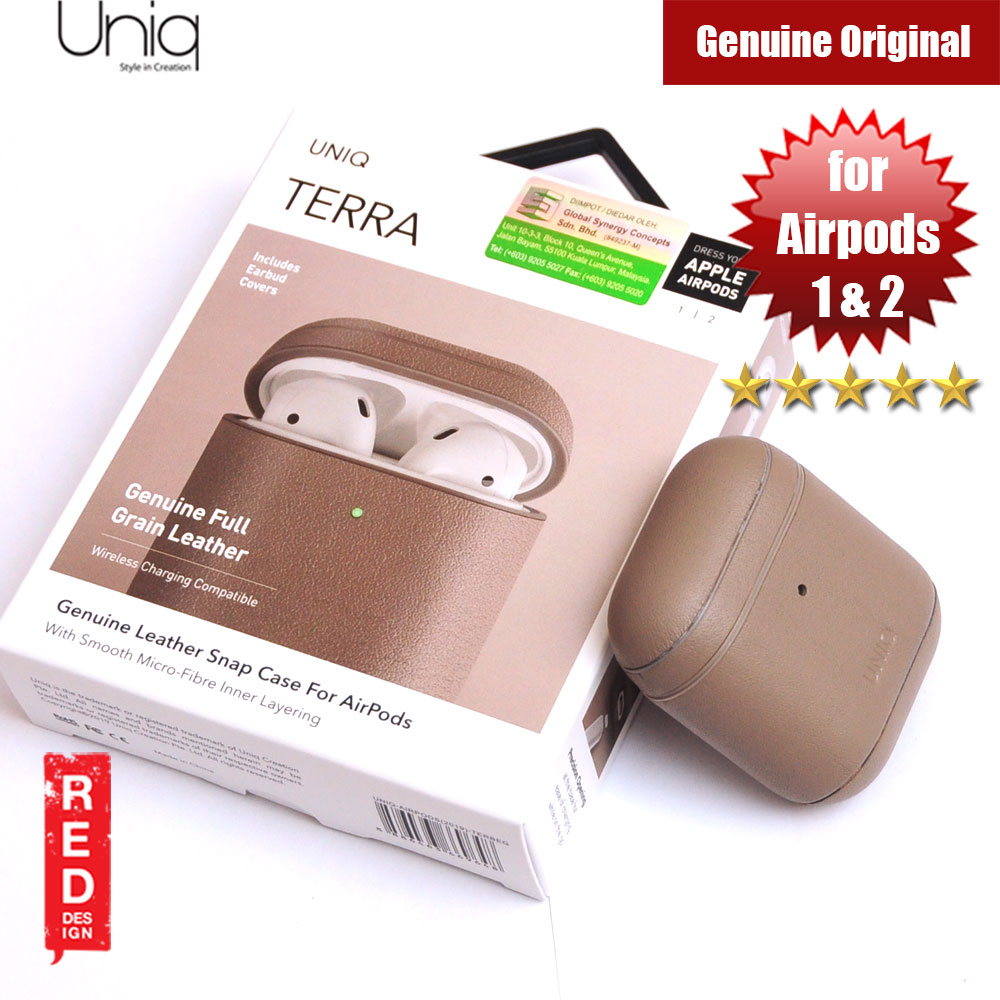 Picture of Uniq Terra Airpod Genuine Leather Snap Case for Airpods 1 Airpods 2 (Beige) Apple Airpods 2- Apple Airpods 2 Cases, Apple Airpods 2 Covers, iPad Cases and a wide selection of Apple Airpods 2 Accessories in Malaysia, Sabah, Sarawak and Singapore