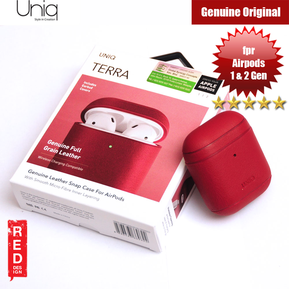 Picture of Uniq Terra Airpod Genuine Leather Snap Case for Airpods 1 Airpods 2 (Red) Apple Airpods 2- Apple Airpods 2 Cases, Apple Airpods 2 Covers, iPad Cases and a wide selection of Apple Airpods 2 Accessories in Malaysia, Sabah, Sarawak and Singapore