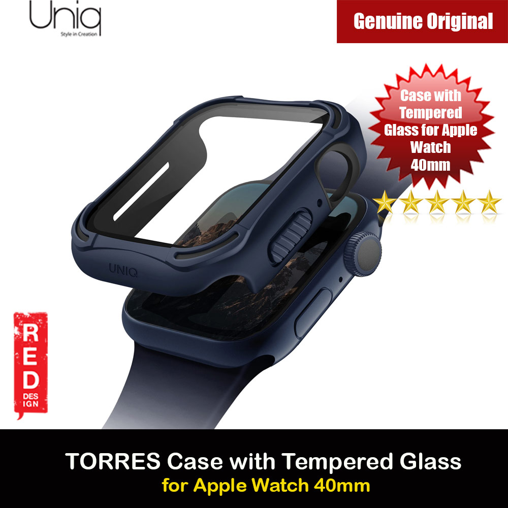 Picture of Uniq Torres Ultra Tough Hybrid Series Case with High Sensitivity Touch 9H Tempered Glass for Apple Watch 40mm (Blue) Apple Watch 40mm- Apple Watch 40mm Cases, Apple Watch 40mm Covers, iPad Cases and a wide selection of Apple Watch 40mm Accessories in Malaysia, Sabah, Sarawak and Singapore