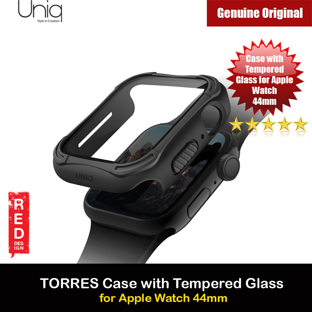 Picture of Uniq Torres Ultra Tough Hybrid Series Case with High Sensitivity Touch 9H Tempered Glass for Apple Watch 44mm (Black) Apple Watch 44mm- Apple Watch 44mm Cases, Apple Watch 44mm Covers, iPad Cases and a wide selection of Apple Watch 44mm Accessories in Malaysia, Sabah, Sarawak and Singapore