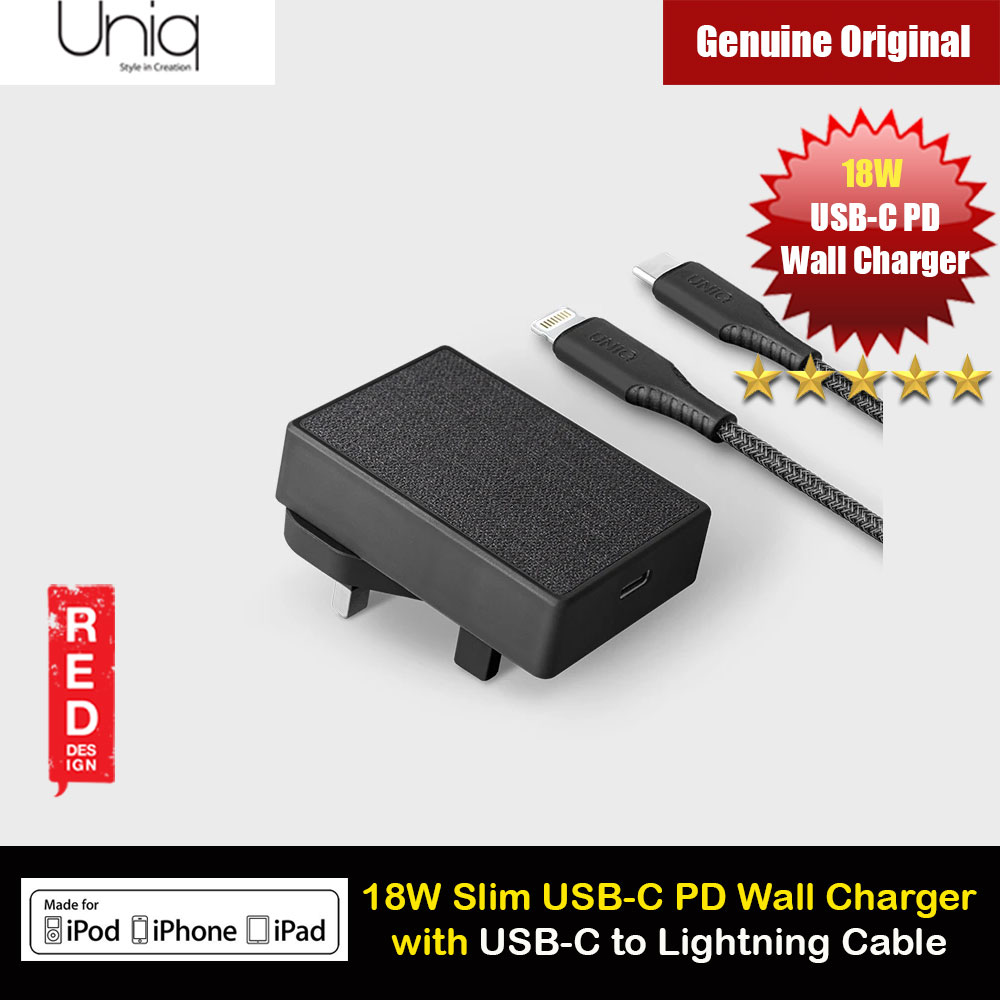 Picture of Uniq VOTRE SLIM KIT MFI Certified 18W USB-C PD Power Delivery Wall Charger with USB-C to Lightning Cable for iPhone iPad Red Design- Red Design Cases, Red Design Covers, iPad Cases and a wide selection of Red Design Accessories in Malaysia, Sabah, Sarawak and Singapore