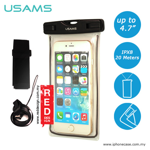 Picture of USAMS Mobile Smartphone IPX8 Waterproof Bag for Smartphone up to 4.7 inches iPhone SE iPhone 6 iPhone 7- Black Red Design- Red Design Cases, Red Design Covers, iPad Cases and a wide selection of Red Design Accessories in Malaysia, Sabah, Sarawak and Singapore