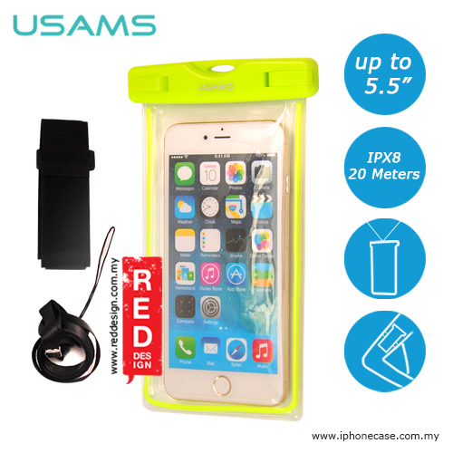 Picture of USAMS Mobile Smartphone IPX8 Waterproof Bag for Smartphone up to 5.5 inches Note 6 S7 Edge iPhone 6 Plus iPhone 7 Plus- Green Red Design- Red Design Cases, Red Design Covers, iPad Cases and a wide selection of Red Design Accessories in Malaysia, Sabah, Sarawak and Singapore