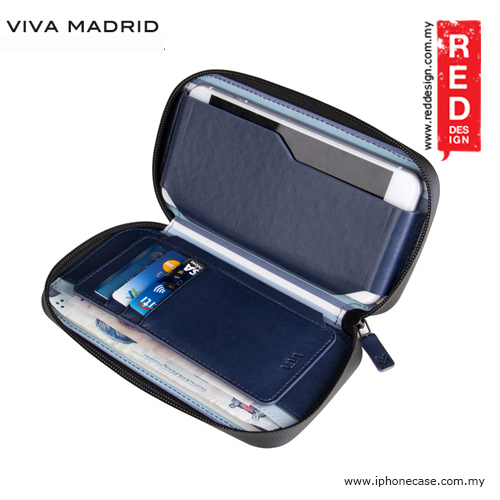 "Picture of Apple iPhone 5 Case | Viva Madrid Robusto Universal Weather Proof Wallet Case Phone Pocket for Apple iPhone X or up to 5.5"" - Navy Blue"