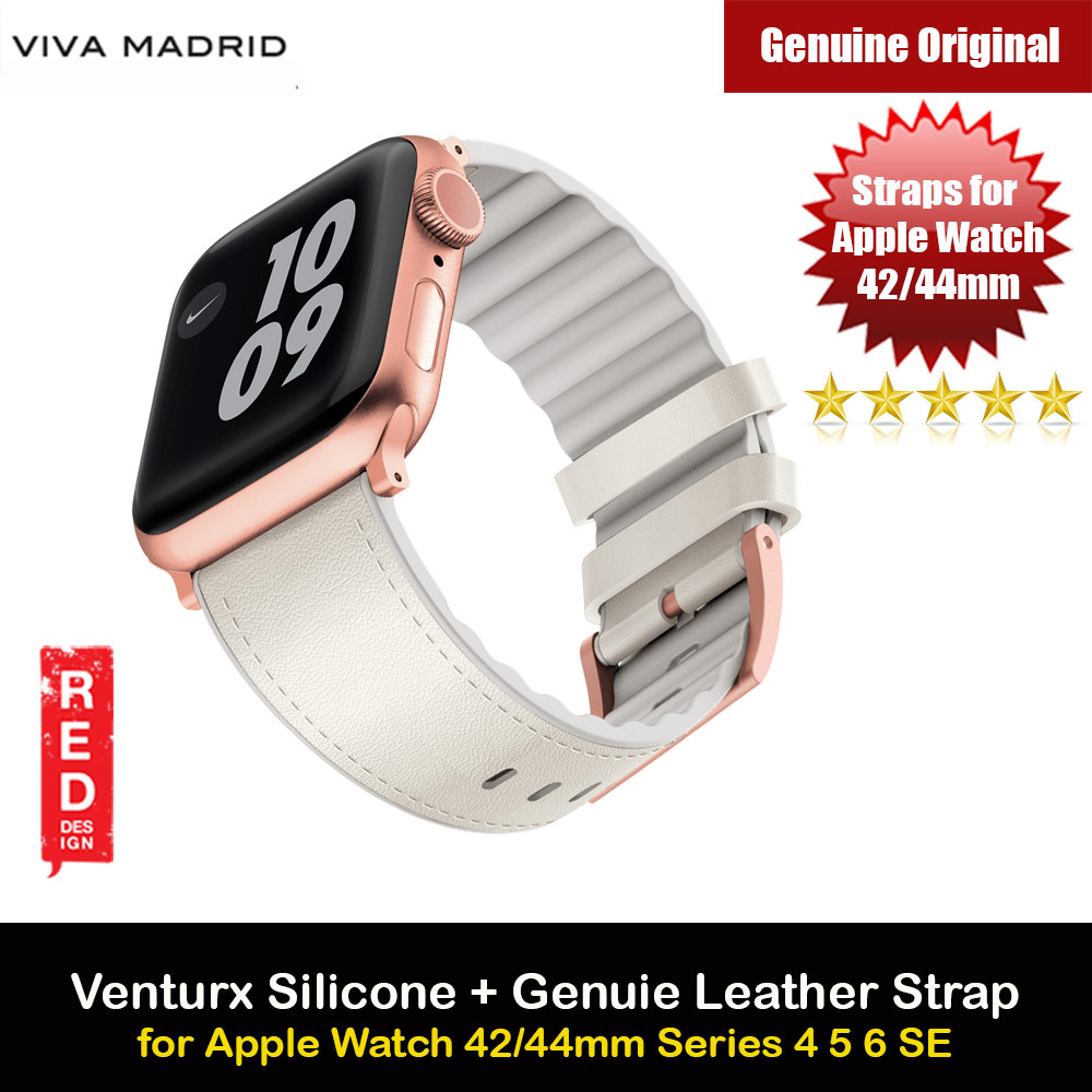 Picture of Viva Madrid Venturx Inner Silicone Outer Genuine Leather Strap for Apple Watch 44mm 42mm Series 4 Series 5 Series 6 Series SE (Beige) Apple Watch 42mm- Apple Watch 42mm Cases, Apple Watch 42mm Covers, iPad Cases and a wide selection of Apple Watch 42mm Accessories in Malaysia, Sabah, Sarawak and Singapore