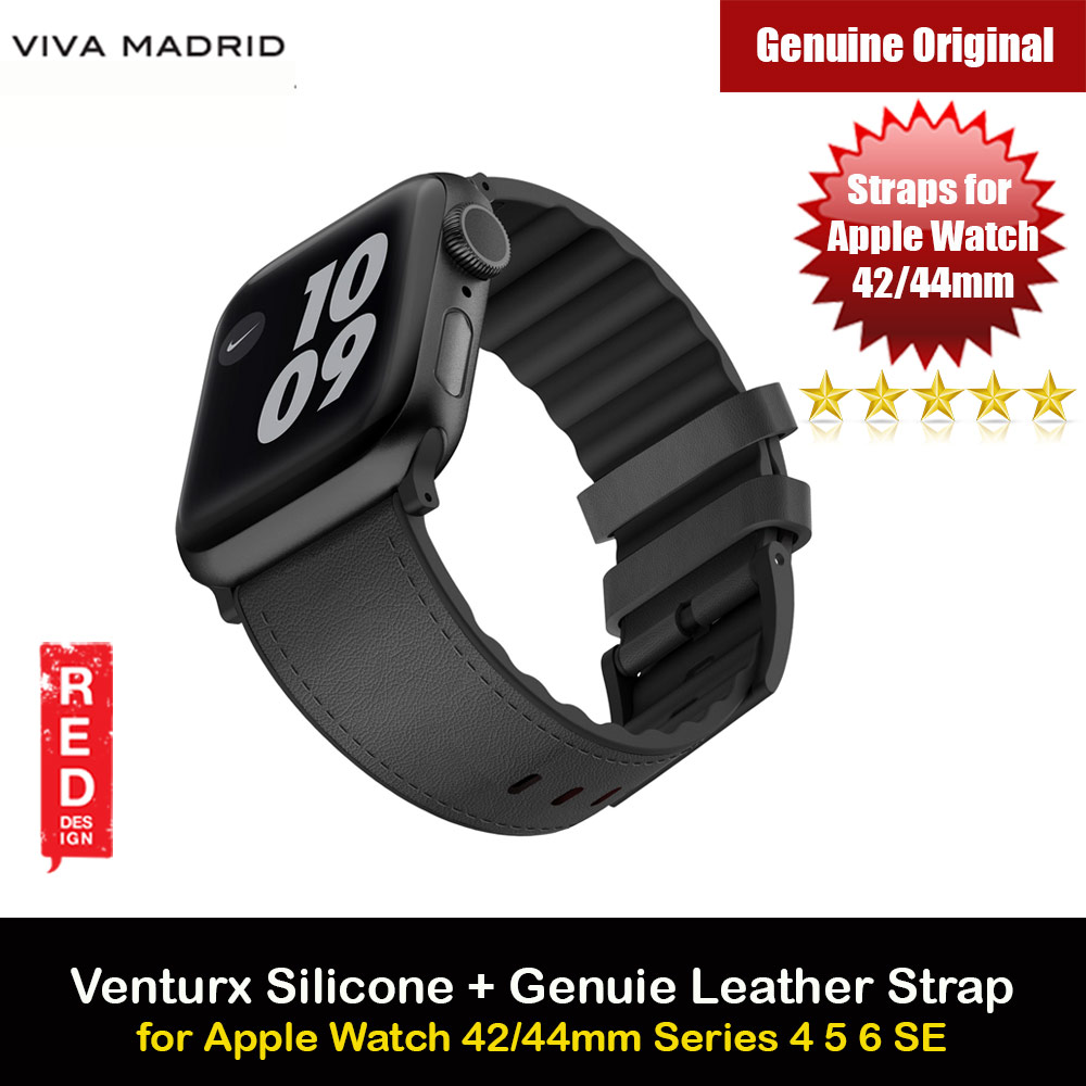Picture of Viva Madrid Venturx Inner Silicone Outer Genuine Leather Strap for Apple Watch 44mm 42mm Series 4 Series 5 Series 6 Series SE (Black) Apple Watch 42mm- Apple Watch 42mm Cases, Apple Watch 42mm Covers, iPad Cases and a wide selection of Apple Watch 42mm Accessories in Malaysia, Sabah, Sarawak and Singapore