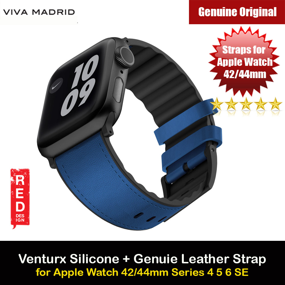Picture of Viva Madrid Venturx Inner Silicone Outer Genuine Leather Strap for Apple Watch 44mm 42mm Series 4 Series 5 Series 6 Series SE (Blue) Apple Watch 42mm- Apple Watch 42mm Cases, Apple Watch 42mm Covers, iPad Cases and a wide selection of Apple Watch 42mm Accessories in Malaysia, Sabah, Sarawak and Singapore