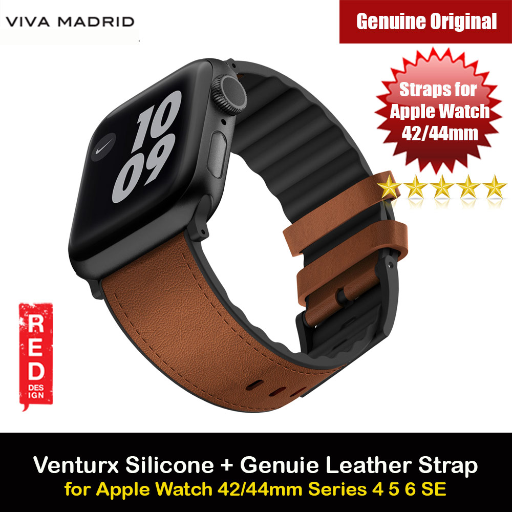 Picture of Viva Madrid Venturx Inner Silicone Outer Genuine Leather Strap for Apple Watch 44mm 42mm Series 4 Series 5 Series 6 Series SE (Brown) Apple Watch 42mm- Apple Watch 42mm Cases, Apple Watch 42mm Covers, iPad Cases and a wide selection of Apple Watch 42mm Accessories in Malaysia, Sabah, Sarawak and Singapore