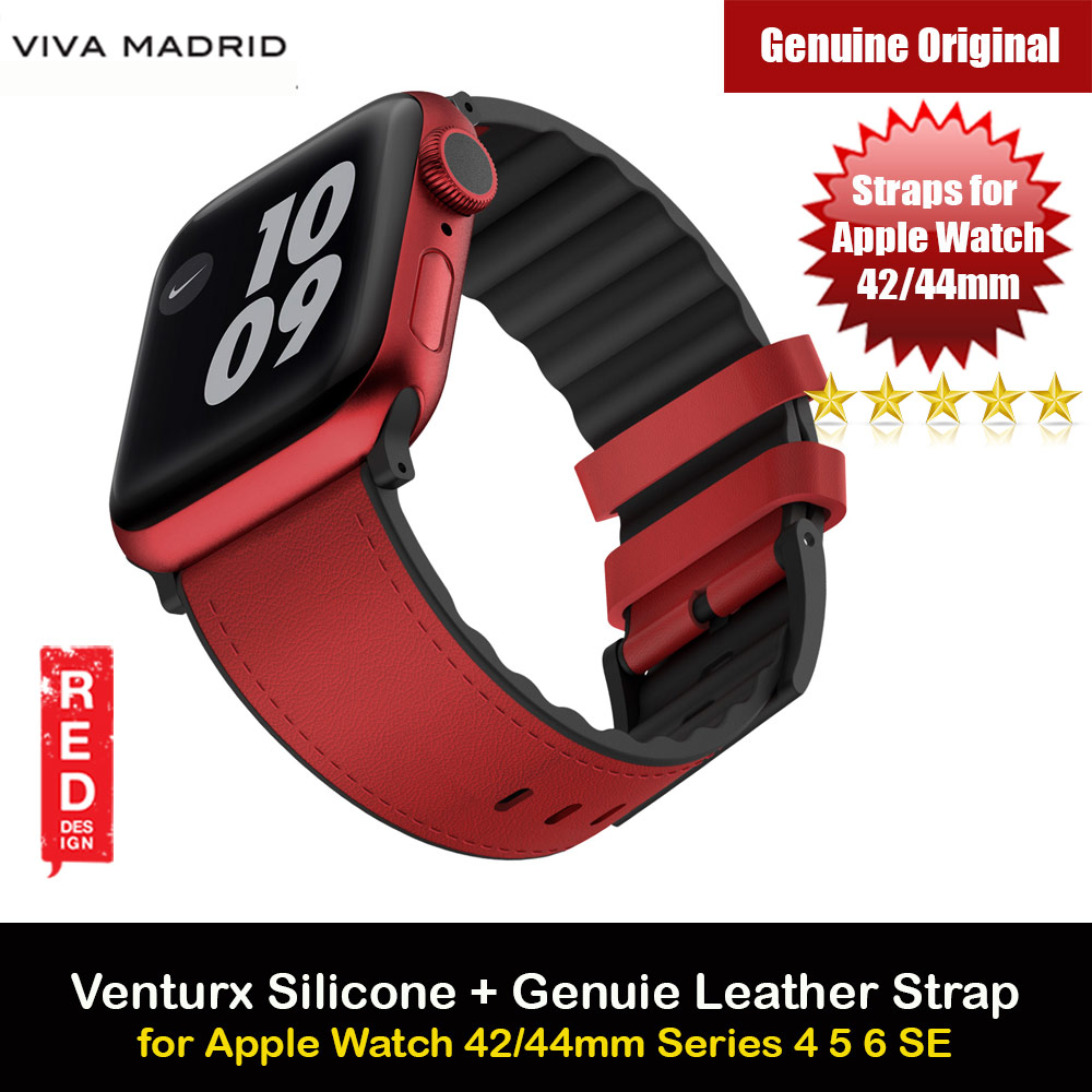 Picture of Viva Madrid Venturx Inner Silicone Outer Genuine Leather Strap for Apple Watch 44mm 42mm Series 4 Series 5 Series 6 Series SE (Red) Apple Watch 42mm- Apple Watch 42mm Cases, Apple Watch 42mm Covers, iPad Cases and a wide selection of Apple Watch 42mm Accessories in Malaysia, Sabah, Sarawak and Singapore